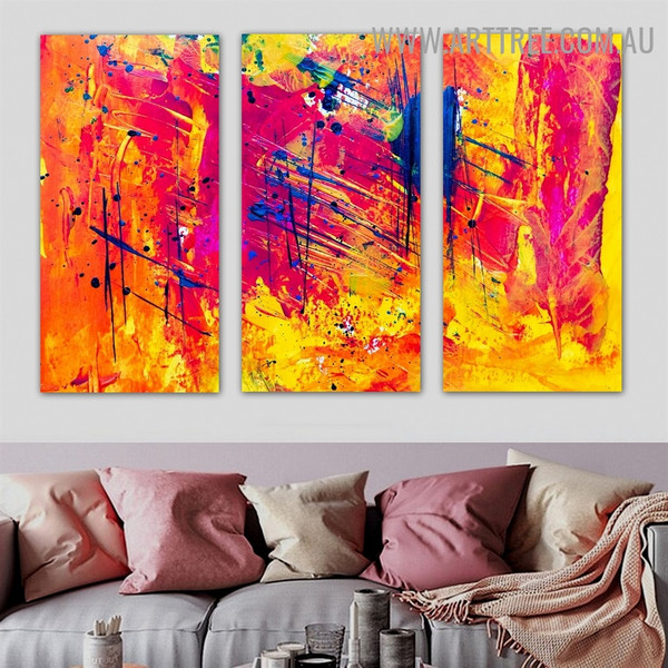 Combine Color Abstract Contemporary Texture Artist Handmade 3 Piece Split Canvas Painting Wall Art Set For Room Decoration