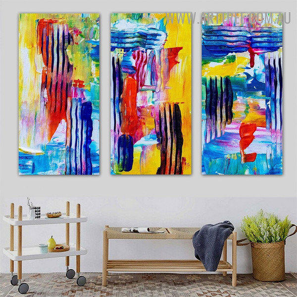 Multicolor Smirches Abstract Contemporary Heavy Texture Handmade 3 Piece Split Panel Canvas Painting Wall Art Set For Room Outfit