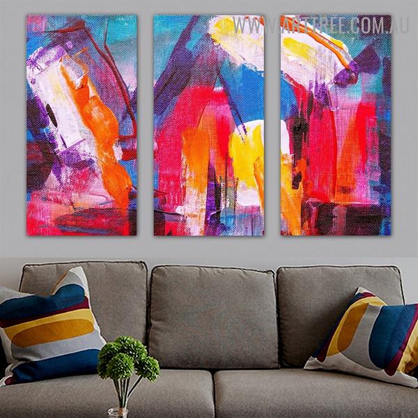Colorific Blurs Abstract Artist Heavy Texture Handmade 3 Piece Split Panel Canvas Wall Art Set For Room Assortment