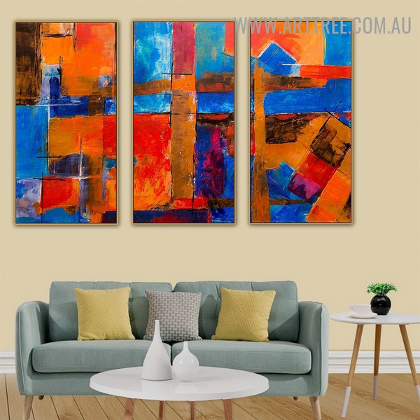 Combinative Color Abstract Artist Heavy Texture Handmade 3 Piece Multi Panel Painting Wall Art Set For Room Decoration