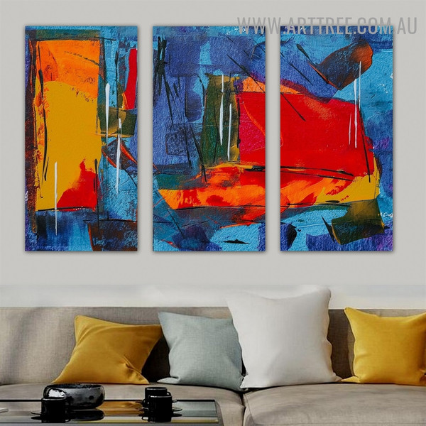 Combinatorial Color Abstract Artist Heavy Texture Handmade 3 Piece Split Wall Painting Set For Room Outfit