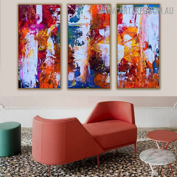 Combined Pigment Color Abstract Heavy Texture Handmade 3 Piece Split Complementary Painting Set For Room Décor