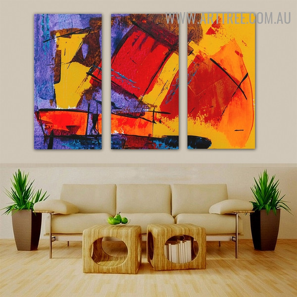 Farraginous Spatula Abstract Modern Heavy Texture Handmade 3 Piece Split Wall Painting Set For Room Ornament