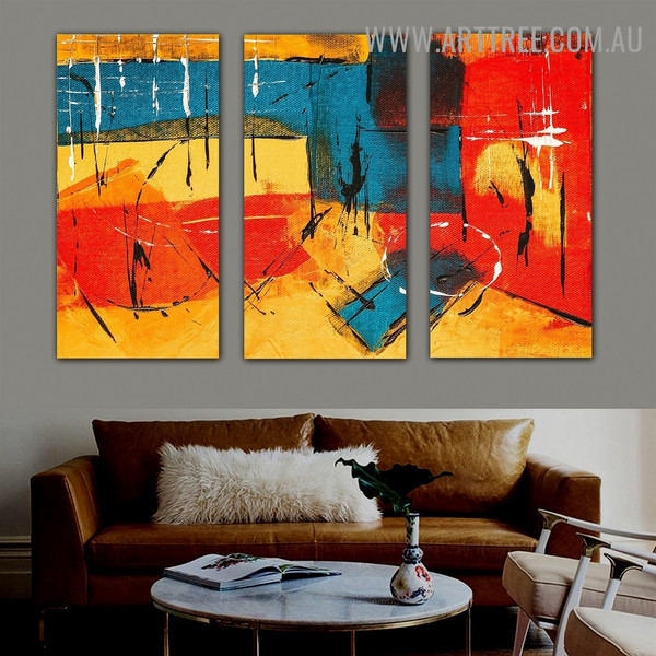 Medley Stains Abstract Contemporary Heavy Texture Artist Handmade 3 Piece Multi Panel Oil Painting Set for Room Drape