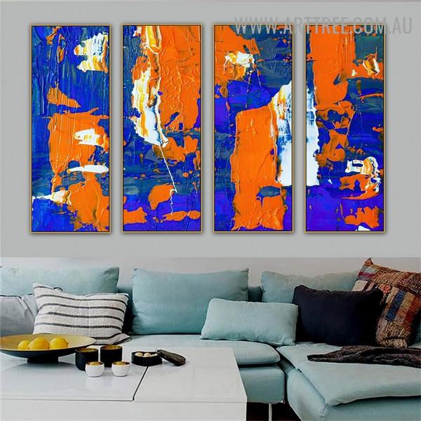 Blue Orange Abstract Contemporary Heavy Texture Artist Handmade 4 Piece Split Panel Canvas Wall Art Set for Room Flourish
