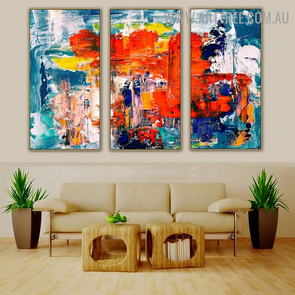 Mingled Abstract Acrylic Contemporary Heavy Texture Handmade 3 Piece Multi Panel Oil Painting Wall Art Set For Room Finery
