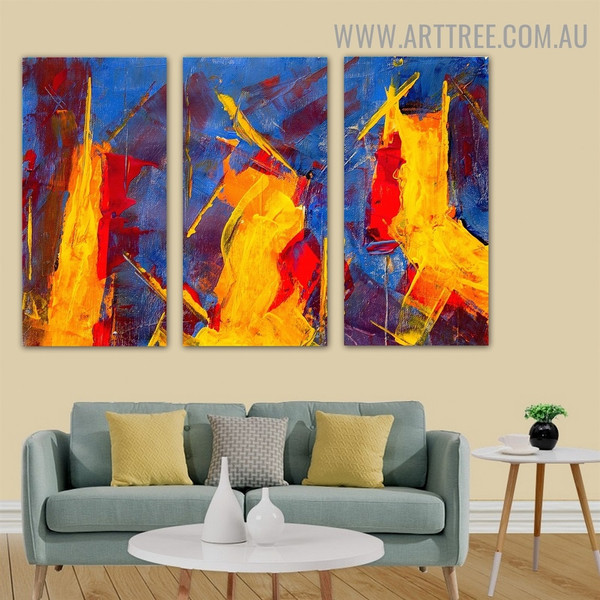 Assorted Abstract Acrylic Modern Heavy Texture Handmade 3 Piece Split Complementary Painting Wall Art Set for Room Decoration