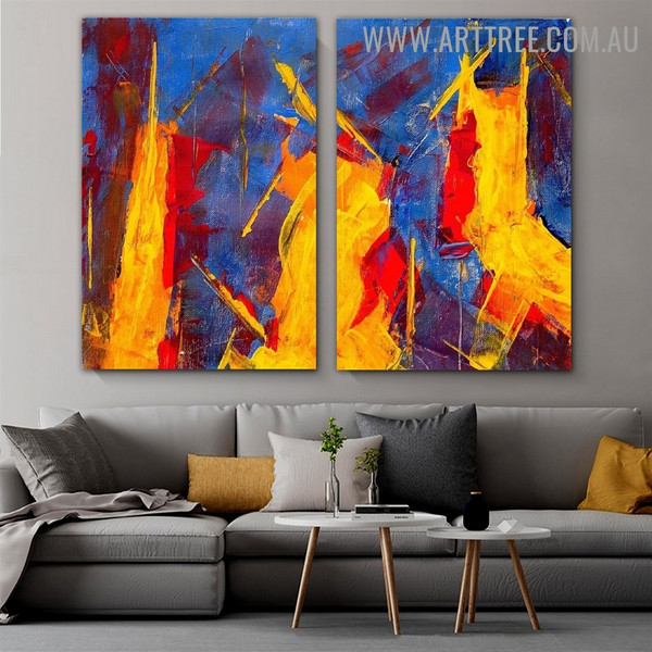 Scars Abstract Acrylic Contemporary Heavy Texture Handmade 2 Piece Split Panel Painting Art Set for Room Finery