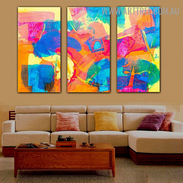 Yellow Blue Abstract Contemporary Texture Artist Handmade 3 Piece Multi Panel Canvas Painting Set for Room Equipment
