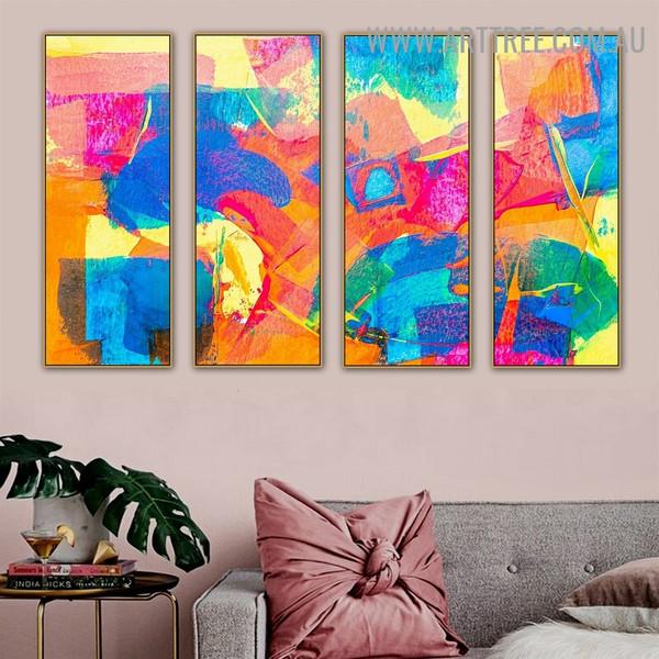 Flecks Color Abstract Modern Heavy Texture Handmade 4 Piece Split Oil Painting Wall Art Set For Room Décor