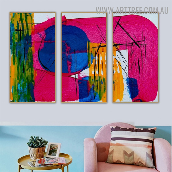 Rehash Color Abstract Contemporary Heavy Texture Artist Handmade 3 Piece Split Complementary Paintings Wall Art Set for Room Garniture