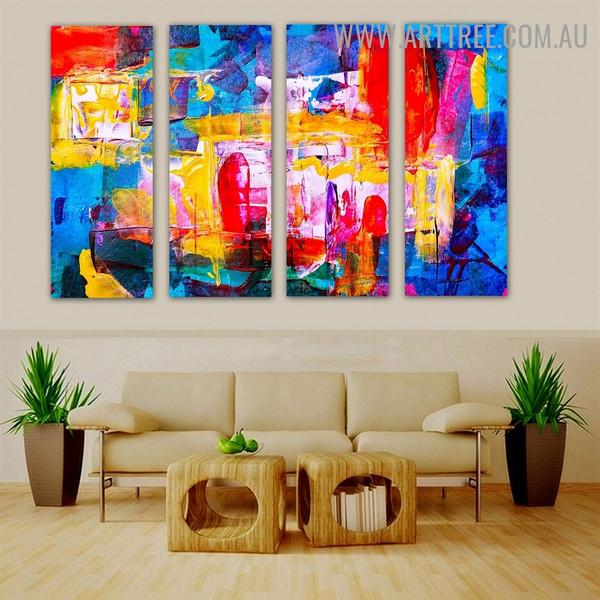 Glaze Color Abstract Contemporary Heavy Texture Artist Handmade 4 Piece Split Panel Canvas Wall Art Set for Room Flourish