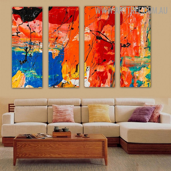 Promiscuous Color Abstract Modern Heavy Texture Handmade 4 Piece Multi Panel Canvas Oil Painting Wall Art Set For Room Assortment