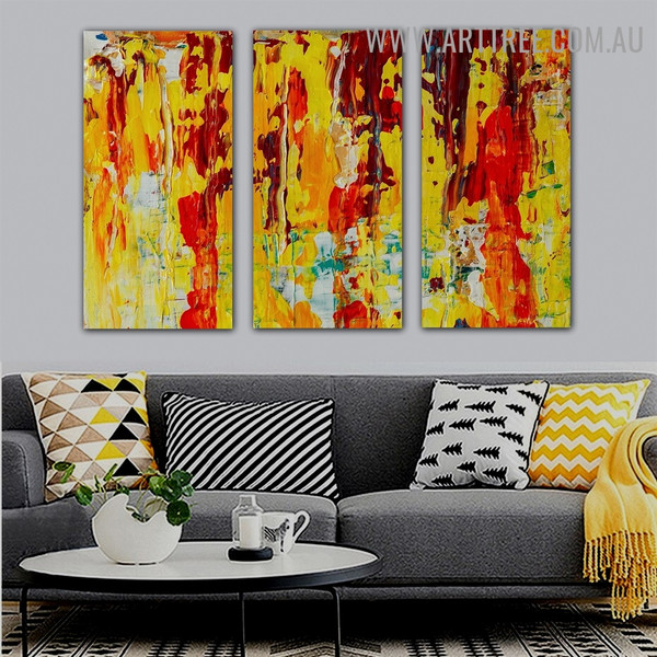 Mixed Color Abstract Acrylic Heavy Texture Handmade 3 Piece Multi Panel Canvas Oil Painting Wall Art Set For Room Tracery