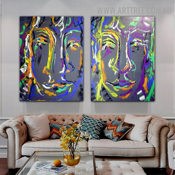 Varicolored Countenances Abstract Contemporary Texture Artist Handmade 2 Piece Multi Panel Canvas Painting Set For Room Equipment