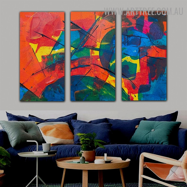 Calico Streaks Abstract Modern Heavy Texture Handmade 3 Piece Split Oil Painting Wall Art Set For Room Decor