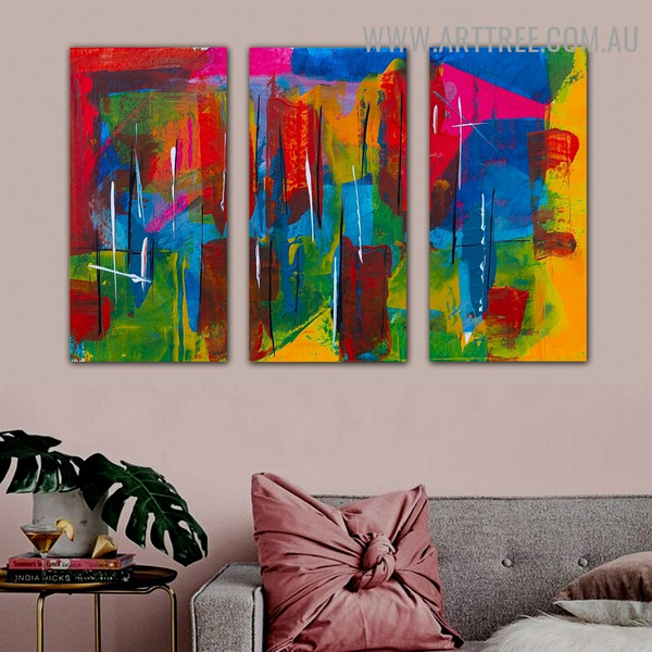 Chequered Lines Abstract Contemporary Texture Artist Handmade 3 Piece Split Canvas Painting Wall Art Set For Room Decoration