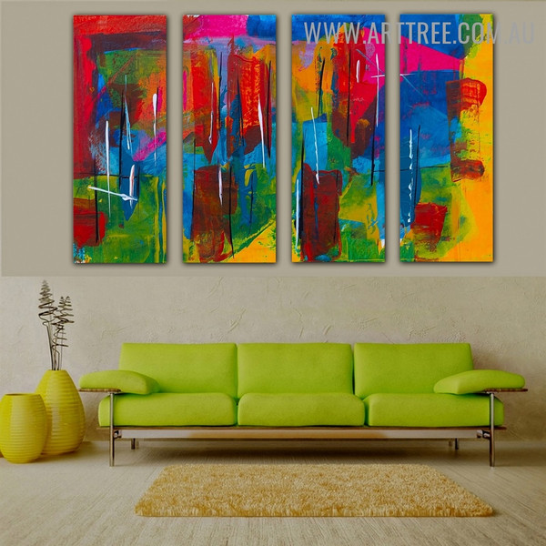 Motley Strokes Abstract Contemporary Heavy Texture Handmade 4 Piece Multi Panel Canvas Oil Painting Wall Art Set For Room Decor