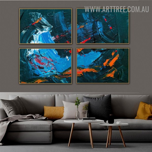 Multicoloured Spots Abstract Modern Heavy Texture Handmade 4 Piece Split Canvas Painting Wall Art Set For Room Décoration
