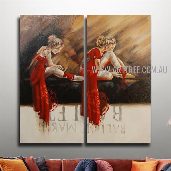 Two Ballet Dancer Vintage Handmade Heavy Texture 2 Piece Split Oil Painting Wall Art Set For Room Décor