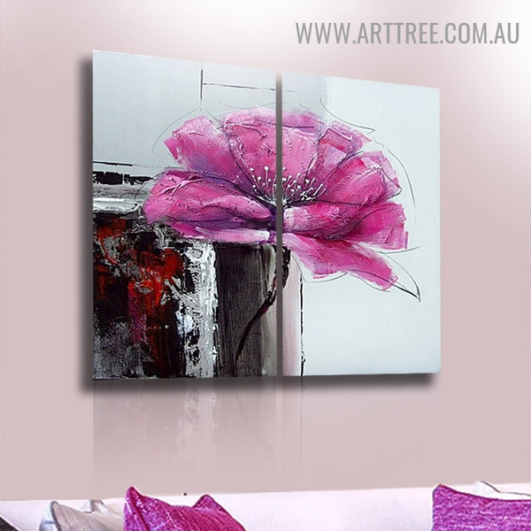Pink Petal Flower Abstract Modern Acrylic Handmade Heavy Texture 2 Piece Split Wall Painting Set for Room Getup