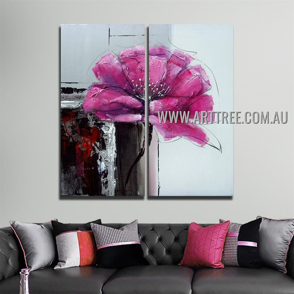 Pink Petal Flower Abstract Acrylic Handmade Heavy Texture 2 Piece Split Panel Canvas Wall Art Set For Room Garnish