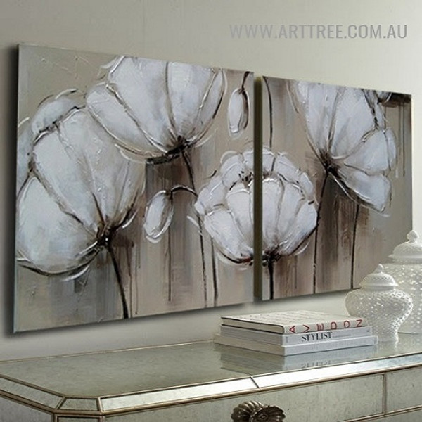 White Poppy Buds Flowers Retro Acrylic Handmade Heavy Texture 2 Piece Split Canvas Painting Wall Art Set for Room Decor
