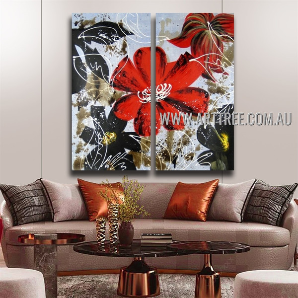Dapple Floral Design Artist Handmade 2 Piece Multi Panel Canvas Oil Painting Wall Art Set For Room Trimming