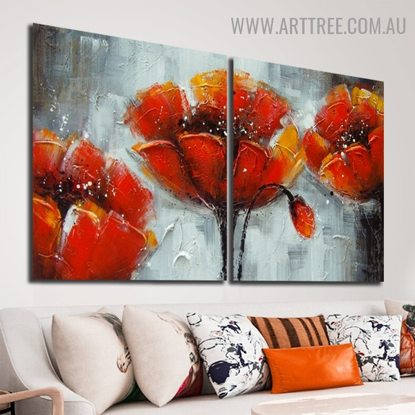 Poppies with Collies Abstract Botanical Handmade 2 Piece Multi Panel Wall Art Painting Set for Room Decor