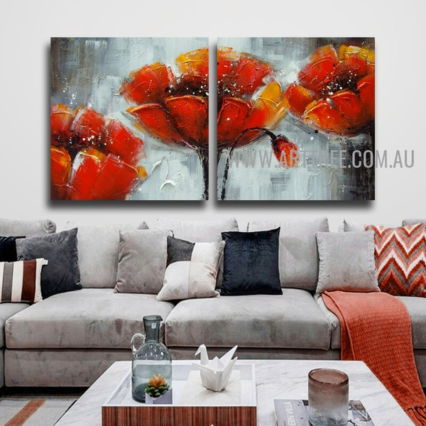 Poppies with Collies Botanical Handmade 2 Piece Multi Panel Oil Painting Wall Art Painting Set for Room Molding