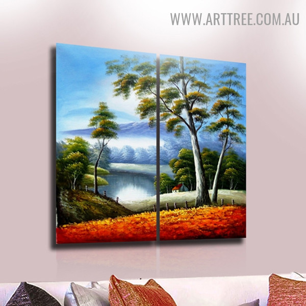 Loch Nature Modern Handmade 2 Piece Split Complementary Painting Wall Art Set For Room Onlay