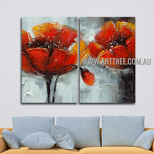 Blooms With Gusset Floral Handmade 2 Piece Multi Panel Wall Art Painting Set For Room Tracery