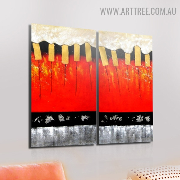 Bold Stripes Abstract Handmade 2 Piece Split Panel Painting Wall Art Set For Room Outfit