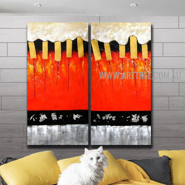 Bold Stripes Abstract Handmade 2 Piece Multi Panel Wall Painting Set For Room Garniture