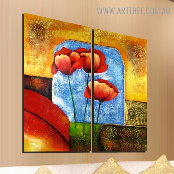 Poppy Florets Abstract Handmade 2 Piece Split Oil Painting Art Set for Room Decoration