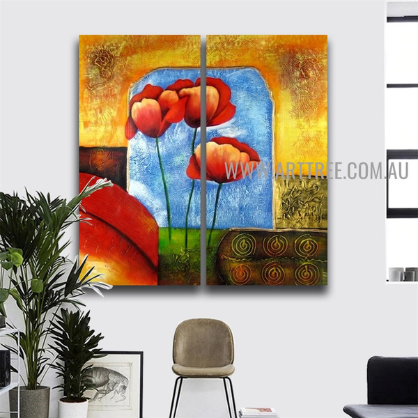 Poppy Florets Abstract Handmade 2 Piece Multi Panel Canvas Oil Painting Set For Room Garniture