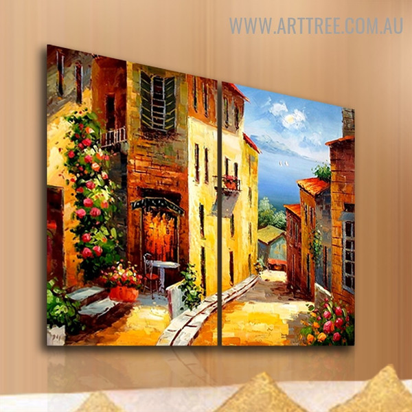 Street to the Sea Cityscape Handmade 2 Piece  Split Panel Canvas Wall Art Set for Room Tracery