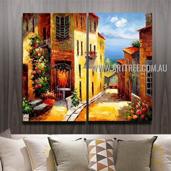 Street To The Sea Cityscape Handmade 2 Piece Split Complementary Painting Wall Art Set For Room Outfit