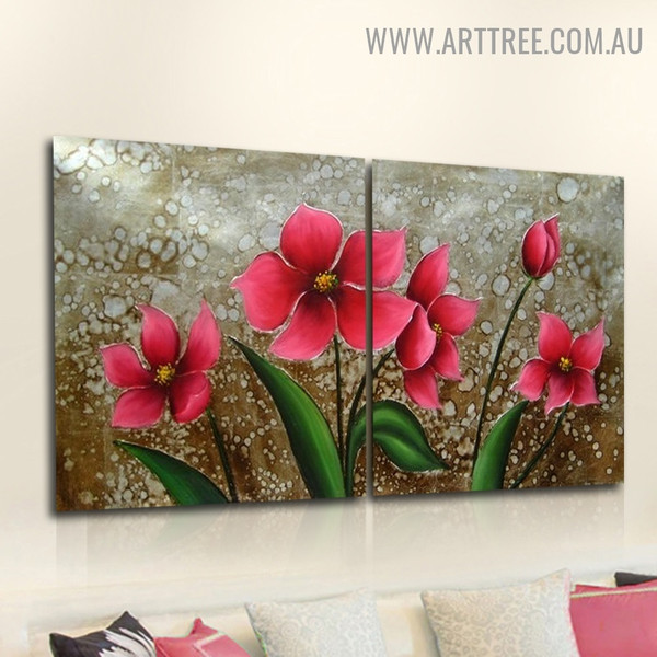 Pink Blossoms Floral Handmade 2 Piece Multi Panel Wall Art Painting Set for Room Trimming