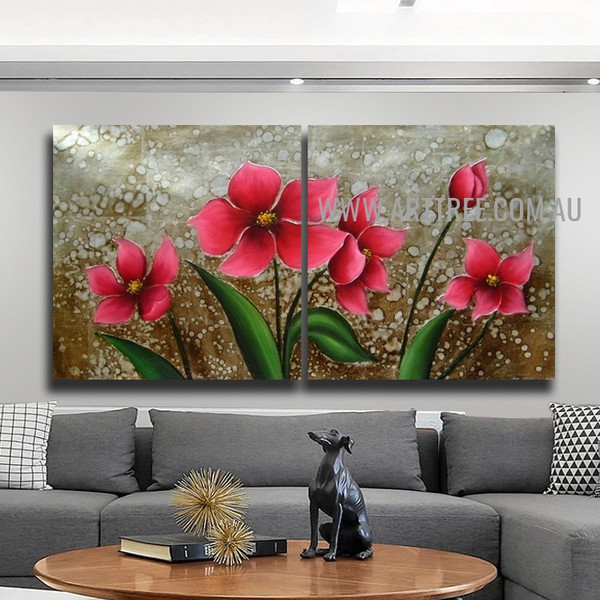 Pink Blossoms Floral Artist Handmade 2 Piece Multi Panel Oil Painting Set For Room Flourish