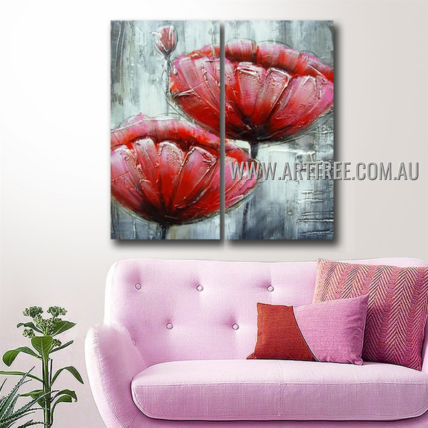 Poppies With Burgeon Floral Handmade 2 Piece Multi Panel Oil Painting Wall Art Set For Room Décor