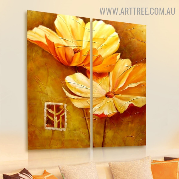 Two Yellow Blooms Floral Handmade 2 Piece Split Panel Canvas Wall Art Set For Room Décor