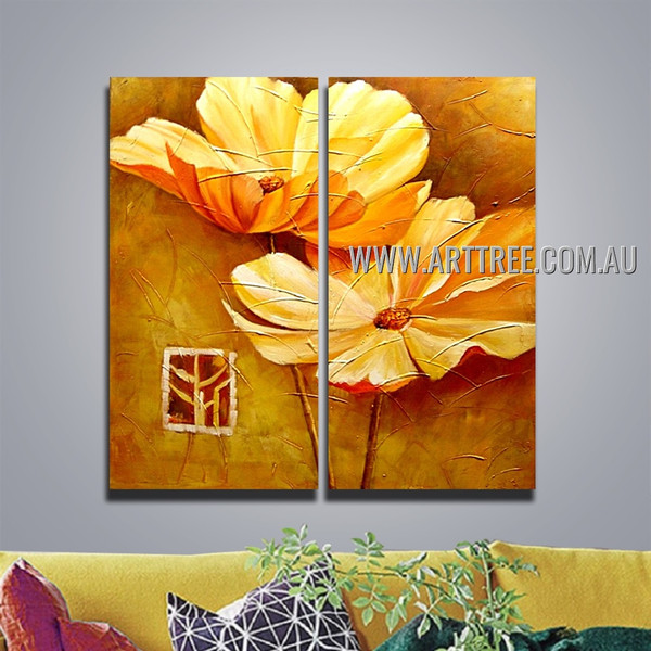 Two Yellow Blooms Botanical Handmade 2 Piece Multi Panel Wall Art Painting Set For Room Outfit