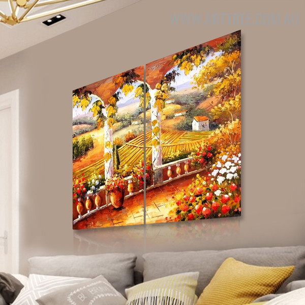 Balcony Nature Landscape Handmade 2 Piece Split Complementary Painting Wall Art Set For Room Disposition