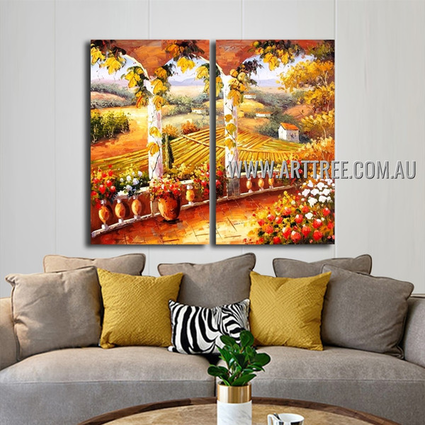 Balcony Landscape Handmade 2 Piece Multi Panel Wall Art Painting Set For Room Disposition