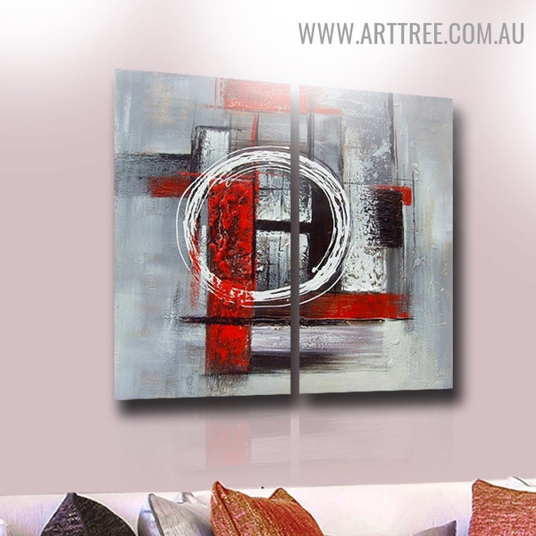 Roundabout Abstract Vintage Handmade 2 Piece Multi Panel Wall Art Paintings Set for Room Wall Onlay