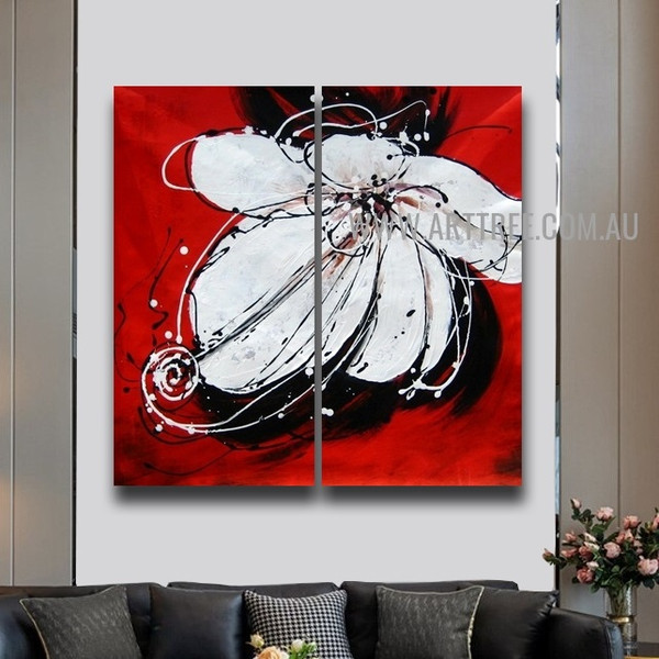 White Petal Flower Floral Handmade 2 Piece Multi Panel Wall Art Painting Set for Room Molding