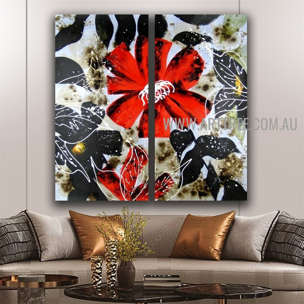 Colorful Flower Design Abstract Handmade 2 Piece Split Panel Painting Wall Art Set for Room Ornament