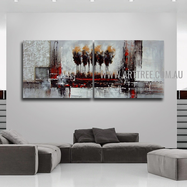 Strokes And Blobs Abstract Vintage Handmade 2 Piece Split Panel Painting Wall Art Set for Room Moulding