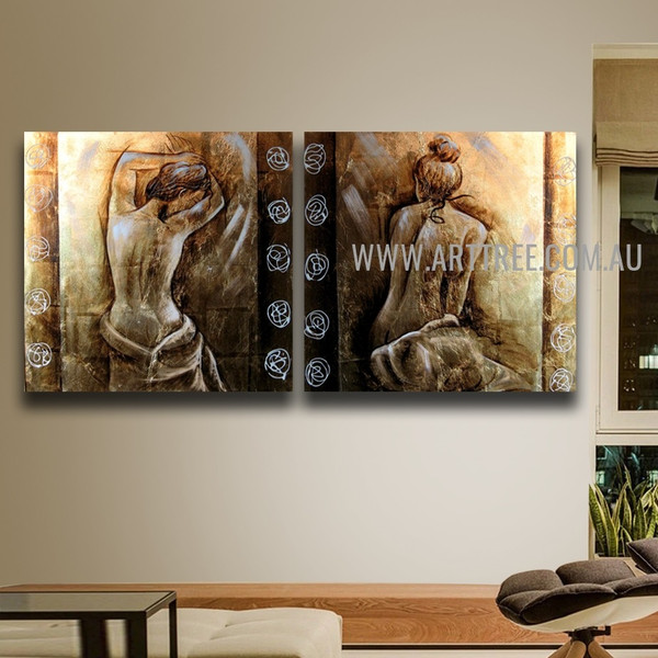 Naked Lady Backside Figure Vintage Handmade 2 Piece Multi Panel Oil Painting Wall Art Set for Room Drape